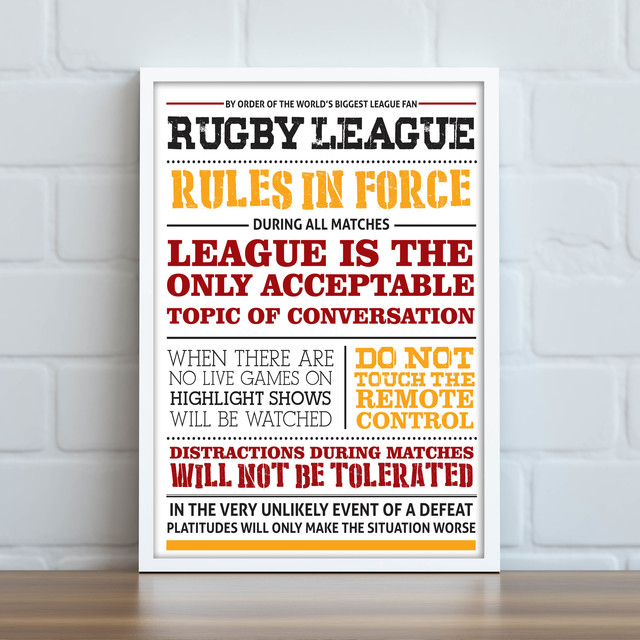 Rugby League Rules Print